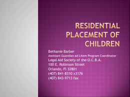 Residential Placement of Children