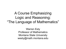 "A Course Emphasizing Logic and Reasoning: ""The Language of"