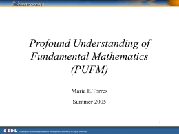 Profound Understanding of Fundamental Mathematics (PUFM)