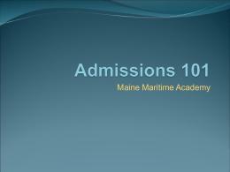 Admissions 101 - Maine Maritime Academy