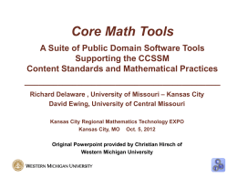 Core Math Tools PowerPoint - Kansas City Regional Mathematics