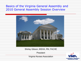 Basics of the Virginia General Assembly and 2010 General