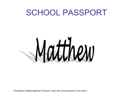 "Matthew`s Passport - ""I have Asperger`s Syndrome..."""