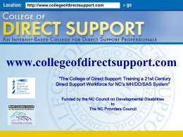 The College of Direct Support - Direct Care Workers Association of