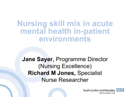 Skill Mix - SLAM - Mental Health & Learning Disability Nurse