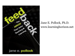 Dr Jane Pollock: Feedback, The Hinge That Joins Teaching