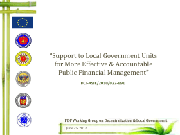EC Support to Local Government Units for More Effective