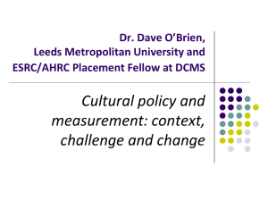 Dr David O`Brien, ESRC/AHRC Public Policy Placement Fellow