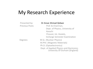 My Research Experience - PAF Karachi Institute of Economics and