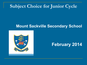 Second Year Subject Choice 2014 Slides