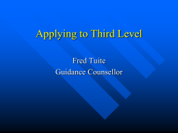 Applying to Third Level - Institute of Guidance Counsellors
