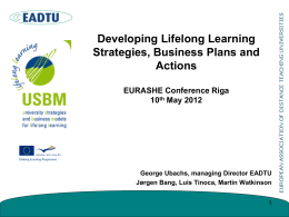 Developing Lifelong Learning Strategies, Business Plans and