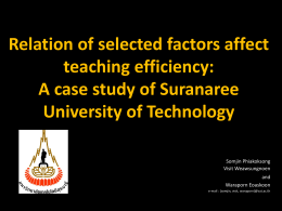 Relation of selected factors affect to teaching efficiency: A case study