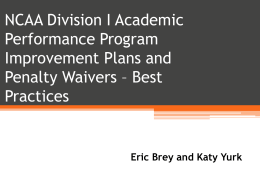 Division I Academic Performance Program Waivers and Plans