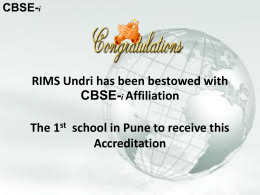 CBSE-i - RIMS Undri INTERNATIONAL SCHOOL AND JUNIOR