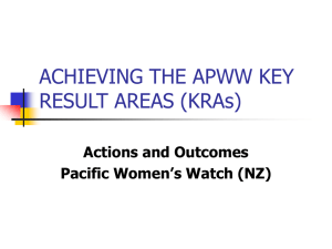 ACHIEVING THE APWW KEY RESULT AREAS KRAs