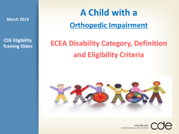 Eligibility of a Child with Orthopedic Impairment