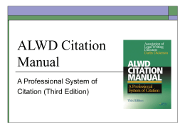 ALWD Citation Manual Background 3d Edition