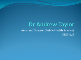 Dr Andrew Taylor - University of Hull