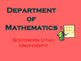 Why Major in Math at SUU? - Southern Utah University