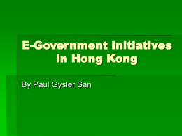 E-Government Initiatives in Hong Kong