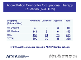 47 OT Level Programs are housed in ASAHP Member Schools