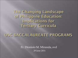 Emerging Curricula of USC College_Fr. Dionisio Miranda