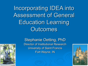 Incorporating IDEA into Assessment of General Education Learning