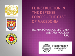 The Case of Macedonia - Bureau for International Language