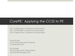 CorePE: Applying the CCSS to PE