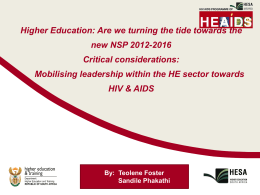 Mobilising leadership within the HE sector towards HIV