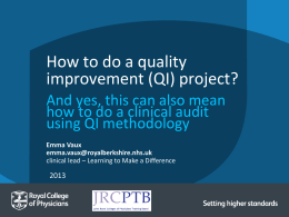 How to do a QI Project