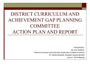 district curriculum and achievement gap planning committee action