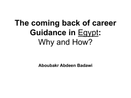 The coming back of career Guidance in Egypt: Why and