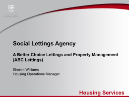Sharon Williams, ABC Social Lettings Agency Presentation