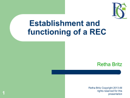 Establishment and functioning of a Research Ethics Committee