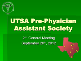 UTSA Pre-Physician Assistant Society 2nd General Fall Meeting