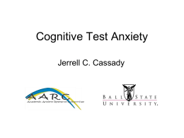 Cognitive Test Anxiety: An Introduction