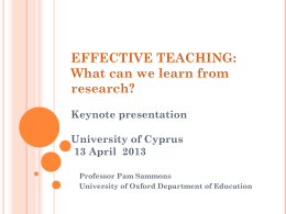 What makes an effective teacher? Presentation for teach First