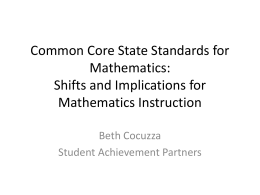 Understanding the Shifts in the Common Core State Standards