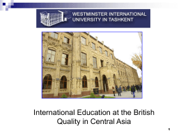 WESTMINSTER INTERNATIONAL UNIVERSITY IN TASHKENT