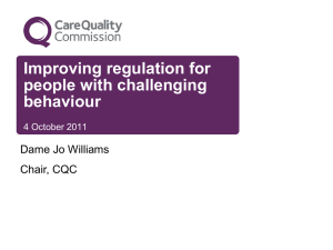 CQC`s ongoing review - Challenging Behaviour Foundation