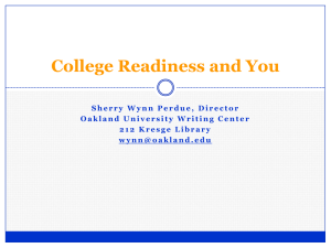 College Readiness and You