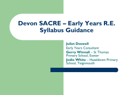 Early Years RE Syllabus Guidance