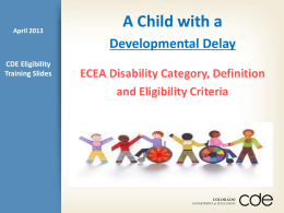 Eligibility of a Child with Developmental Delay