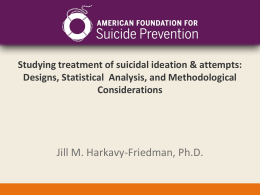 Evaluation of Youth Suicide Prevention Programs: Designs