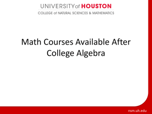 Courses after College Algebra