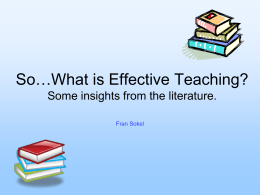 So….What is Effective Teachin?