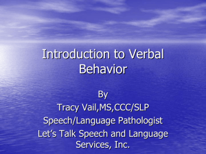 Introduction to Verbal Behavior