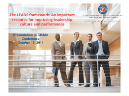 The LEADS Framework - 2014 chima conference